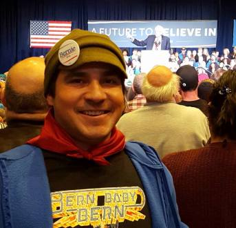 Martin at Democratic Caucus for Bernie Sanders